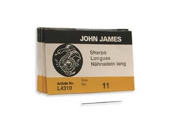 John James Sharps Needles Size 11 43371 , Size 11 English Needles, Sharps Bulk Pack Beading Needle, Sewing Needles, John James Needle L4310