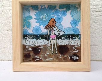 Unique surf girl mixed media shadow effect cornish sea glass box frame art piece picture surf art surfer