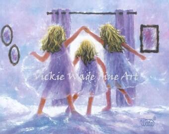 Three Sisters Art Print, three girls bedroom wall art decor, blonde sisters, jumping on the bed, london bridges,  Vickie Wade art