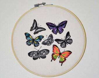 Neon Butterflies Embroidery Hoop Wall Art