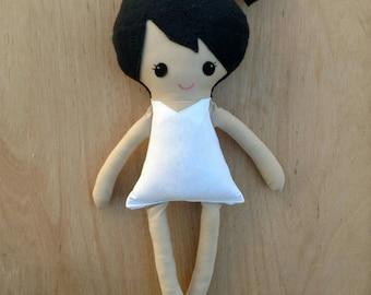 Dress up doll, dress up fabric doll, rag doll, black hair plush doll, black hair base doll, soft dress up doll, messy bun