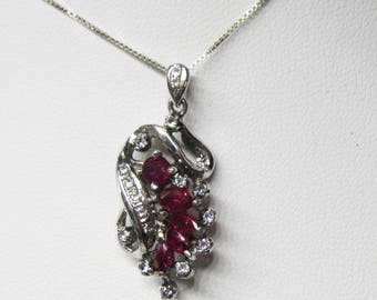 Sterling Silver Diamond and Ruby Pendant - Necklace -   2409J