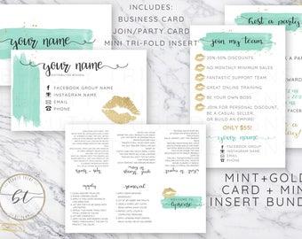 Lipsense  Card Bundle with Mini Tri-Fold insert MINT+GOLD - lipsense distributor branding - Digital Download