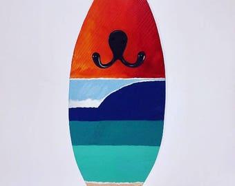 Surfboard art wall hook