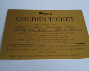 Willy Wonka Golden Ticket Invitations Charlie and the Chocolate Factory