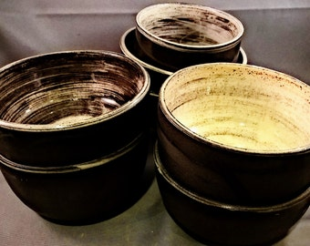 Chocolate brown with white swirl slip and crackle glaze set SALE FREE SHIPPING