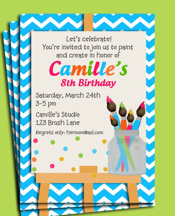 Painting Art Party Birthday Invitation Printable or Printed