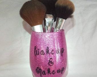 Makeup Brush Holder | Custom Made | Wake Up & Make Up Makeup Brush Holder | Cosmetic Accessories | Makeup Accessories