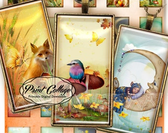Magic Forest Domino Pendant images Digital Collage Sheet 1 x 2 inch Printable images Jewelry Backgrounds c125