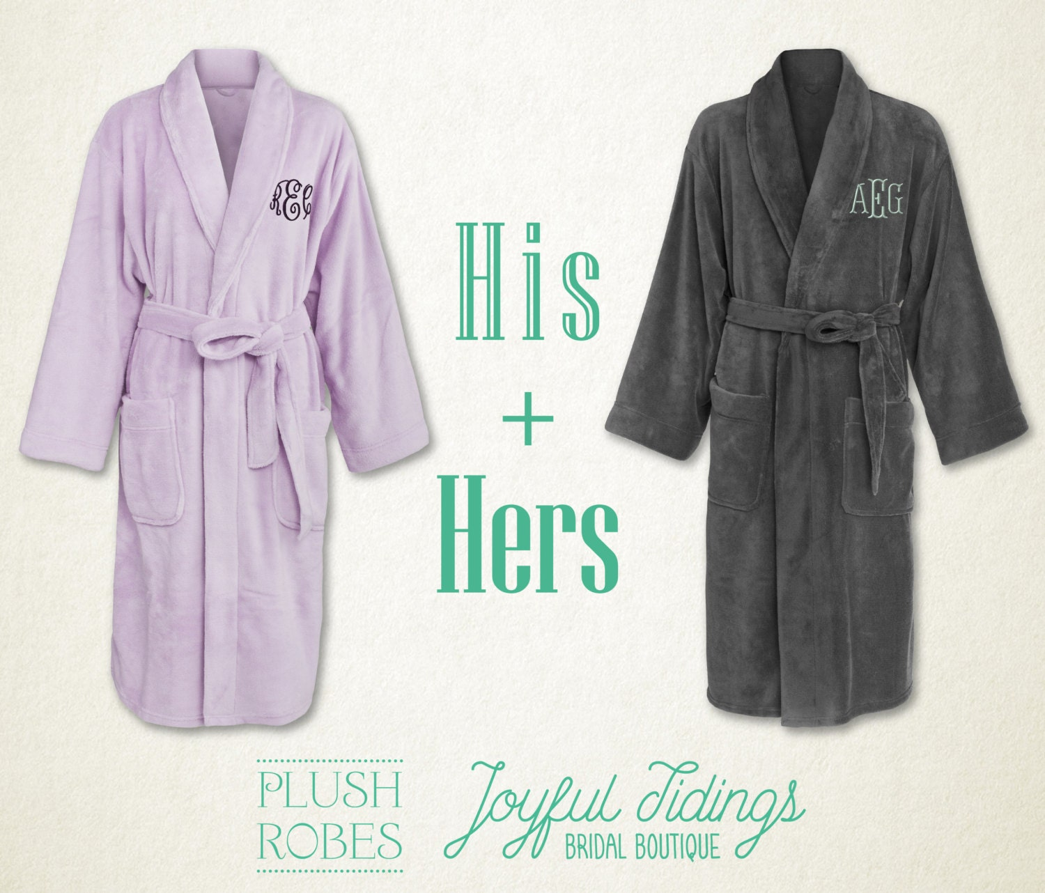 his and hers personalized fleece robe set couples gift gift. Black Bedroom Furniture Sets. Home Design Ideas
