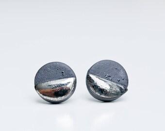 Earrings For Men, Black Studs, Unisex, Round Studs, Black Stud Earrings, Mens Earrings, Mens Studs, Mens Stud Earring, Contemporary Earrings