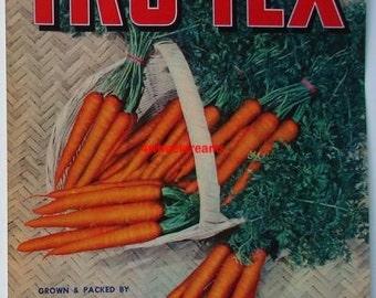 1940s Texas Tru Tex Carrots Carrizo Springs TX Rouw Veggie Crate Label