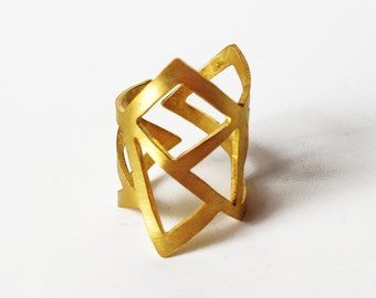 gold statement ring, gold geometry ring, architectural ring, gold plated bronze ring, adjustable ring, geometry ring, gold minimalist ring