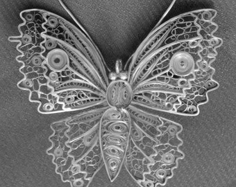 Antique Butterfly Brooch marked sterling filigree circa 1930