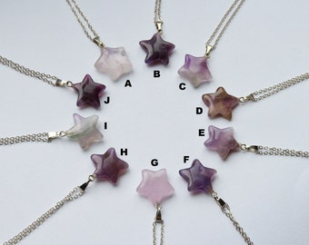 Amethyst star gemstone necklace stone crystal carved natural