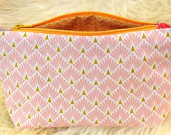 Feminine pink and mustard yellow makeup case