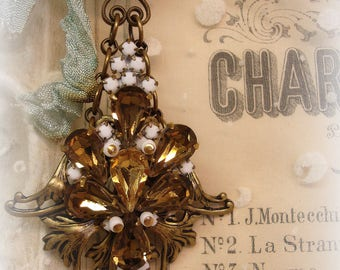 unForgettable chandie ornament one of a kind vintage assemblage vertical bling room decor vintage chandelier crystals rhinestones holy medal