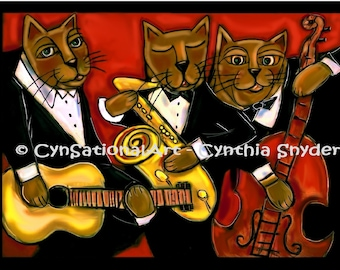 """Whimsical Art Print of Original Painting """"Cool Jazz Cats""""   5 x 7 or 8 x 10  Blues Music Instruments"""