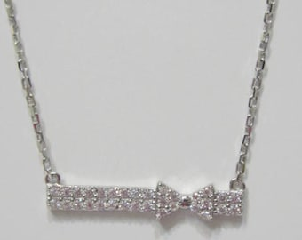 Silver Bar Necklace, Bow Necklace, Bar Necklace with Bow, Cubic Zirconia Bar Necklace, Sterling Silver CZ Bar Necklace,