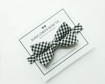 Gingham Bow Tie - Black and White Bow Tie - Boys Bow Tie - Bow Ties for Boys - Men Bow Tie - Toddler Bow Ties - Little Boys Bow Ties