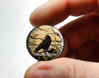 Glass Cabochon - Raven Design 2 - for Jewelry and Pendant Making