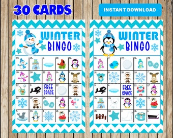 Winter Bingo Printable Game - 30 different Cards - Snowman Memory Game - Party Game Printable - INSTANT DOWNLOAD