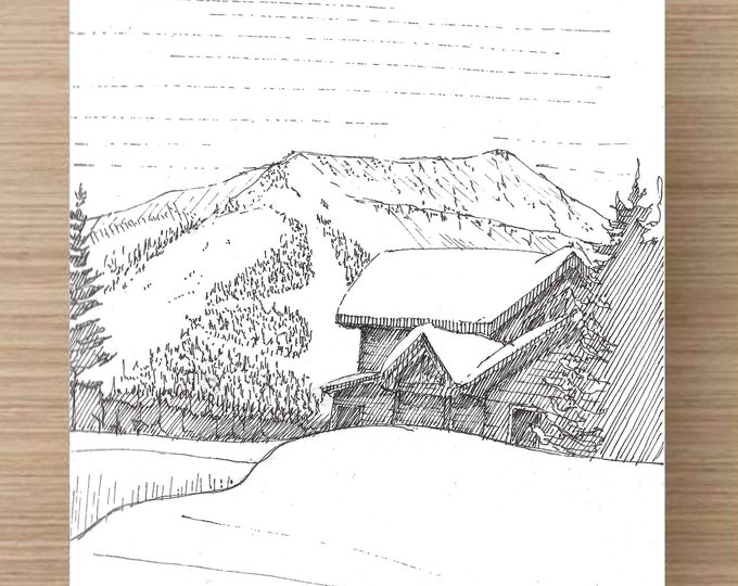 Pen and Ink Drawing of Ski Cabin and Ski Slope in Big Sky, Montana - Winter, Ink Drawing, Sketch, Watercolor, Art, Pen and Ink, 5x7, 8x10