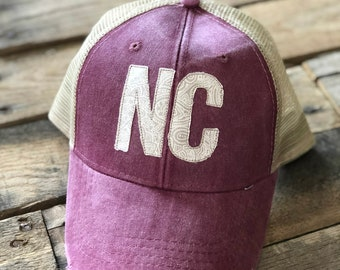 Burgundy & Ivory NC Trucker Hat