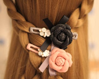 2 Colors / Floral Bow Crystal Pearl hair clips/ Pink and Black / Wedding/Cute / Hair Alligator Clip hair accessory