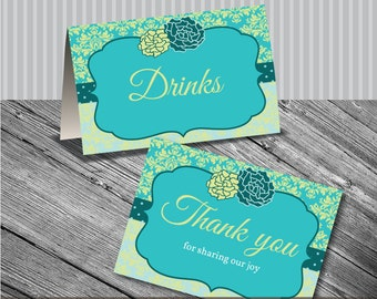 Editable PDF Printable - Elegant Turquoise Green Damask Label / Sticker / Tent Card - DIY - Wedding, Birthday, Baby Shower