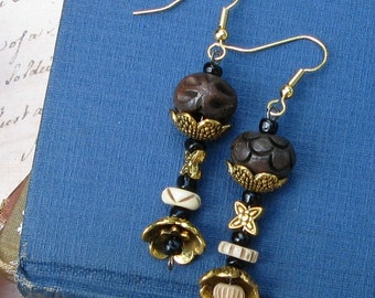 Asymmetrical Brass and Bone Drop Earrings of the Tribal Collection