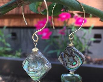 Labradorite, Green Biwa Pearls and Abalone  Dangle Earrings  Boho Dangles  Spring Fling   Cruise  Resort Wear  Paua Shell  Sundance style