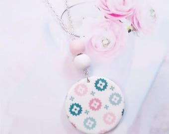 necklace medallion printed polymer clay