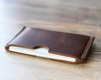 Leather card sleeve etsy leather card sleeve front pocket wallet groomsmen gift personalized card holder creditbusiness card wallet monogrammed wallet colourmoves