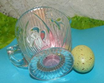 Depression Glass ''Iris and Herringbone'' pattern Creamer by Jeannette Glass Co. Antique Glassware