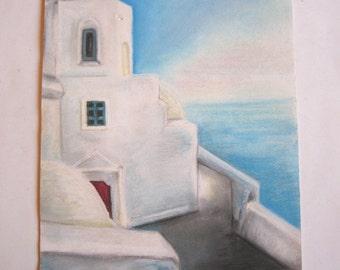 vintage original painting, greek aegean island, signed