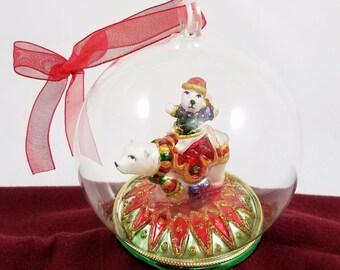 "Polar Bear Mercury Glass Diorama Christmas Ornament Holiday Decor 4"" Ball Globe"