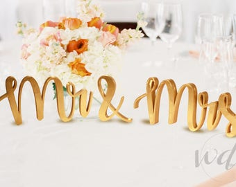 Mr and Mrs Sign, 5in. Vintage Script Sweetheart table wedding reception centerpiece - Wedding Day Studio - Cheap Shipping!