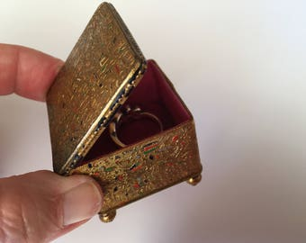 Antique French Gilded and Enameled Ring Box, Footed Jewelry Casket. Red Silk Lining