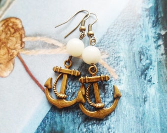 FREE SHIPPING! Brass anchor earrings with white amazonite crystal pearls, nautical jewelry, bespoke jewelry, Selma Dreams