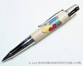 AUTISM AWARENESS HEART pen - wood inlayed in Stainless Steel Liberty style