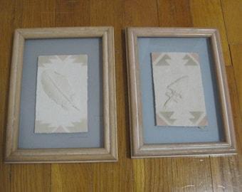 WESS, Feather, Arrowhead, Southwestern, Framed Art, Figi Graphics, Style CP-67V & CP-68V, Vintage