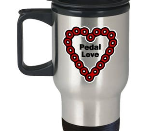 Pedal Love Funny Bicycle Travel Mug Gift Cycling Riding Cycle Bicycling Ride Bike Chain Heart Coffee Cup