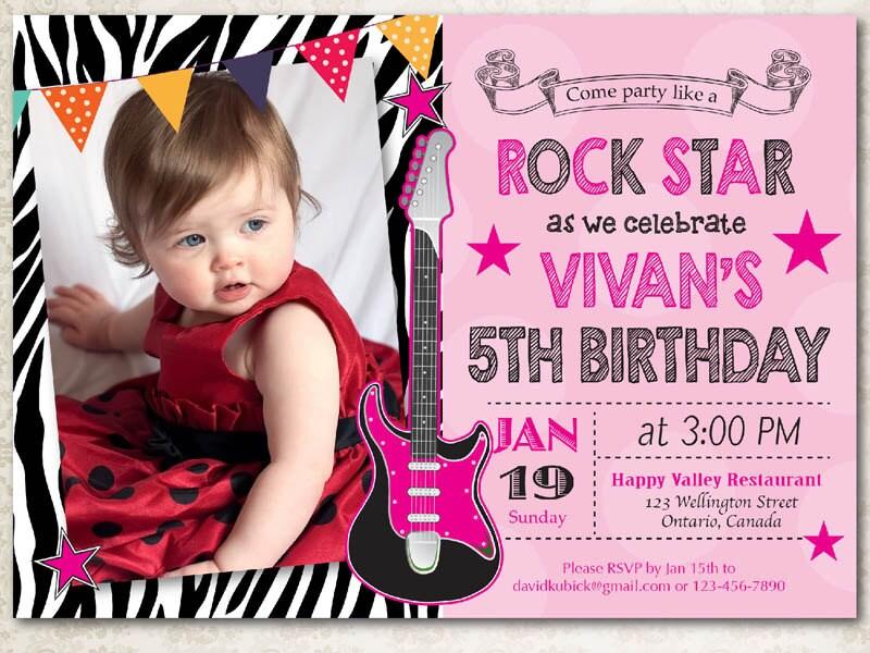 Rock Star Birthday Invitation. Girl Birthday Party Zebra Print