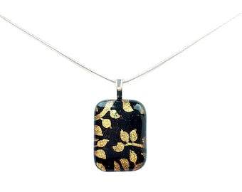 Pendant Necklace, Gold Metallic Leaf Design, Dichroic Jewelry