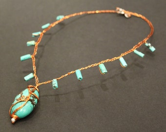 Artisan Wirewrapped Turquoise Copper Choker