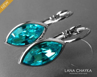 Turquoise Crystal Marquise Earrings Swarovski Light Turquoise Leverback Earrings Wedding Bridesmaid Teal Jewelry Turquoise Silver Earrings