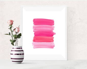 Pink art, PRINTABLE art, Brushstroke art, Wall art, Abstract art, Paintbrush art, Glam decor, Abstract print, Modern art print, Dorm decor