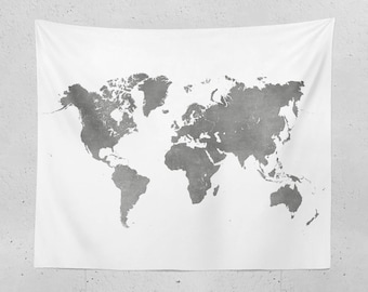 Black and white map etsy world map tapestry black and white map of the world for neutral decor dorm gumiabroncs Choice Image