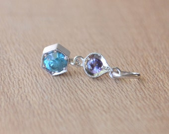White Gold Hexagon Petal Pendant, hexagon necklace, flower pendant, colored gemstone pendant, purple sapphire pendant, blue zircon pendant
